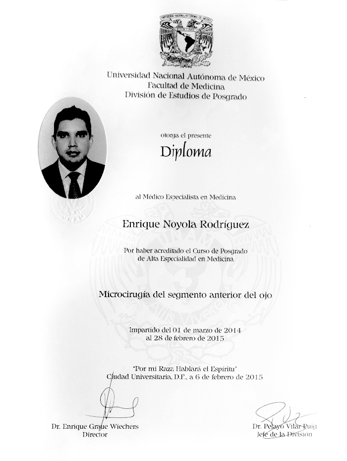 Certificado Oftalmologo de San Luis Potosi