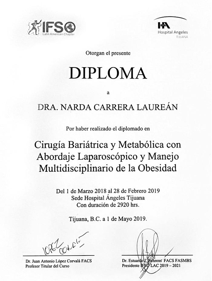 Certificado Bariatra de Tijuana