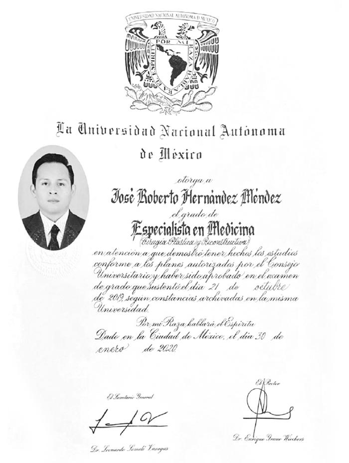 Certificado Cirugia Plastica de Tijuana