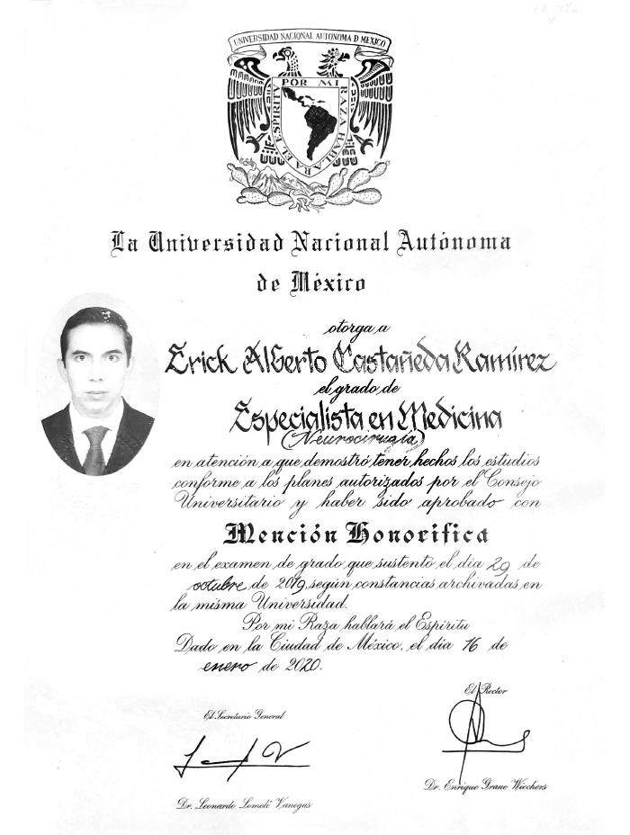 Certificado Neurocirujano de Tijuana