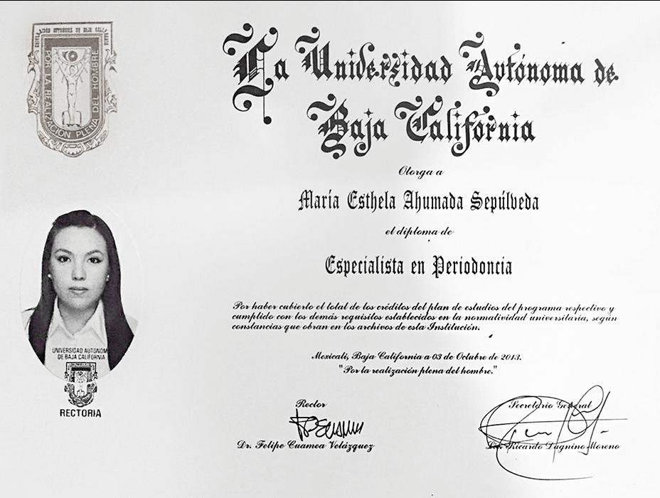Certificado dentista de Tijuana