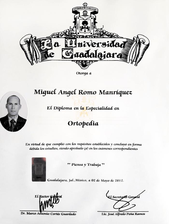 Certificado Ortopedia de Tijuana