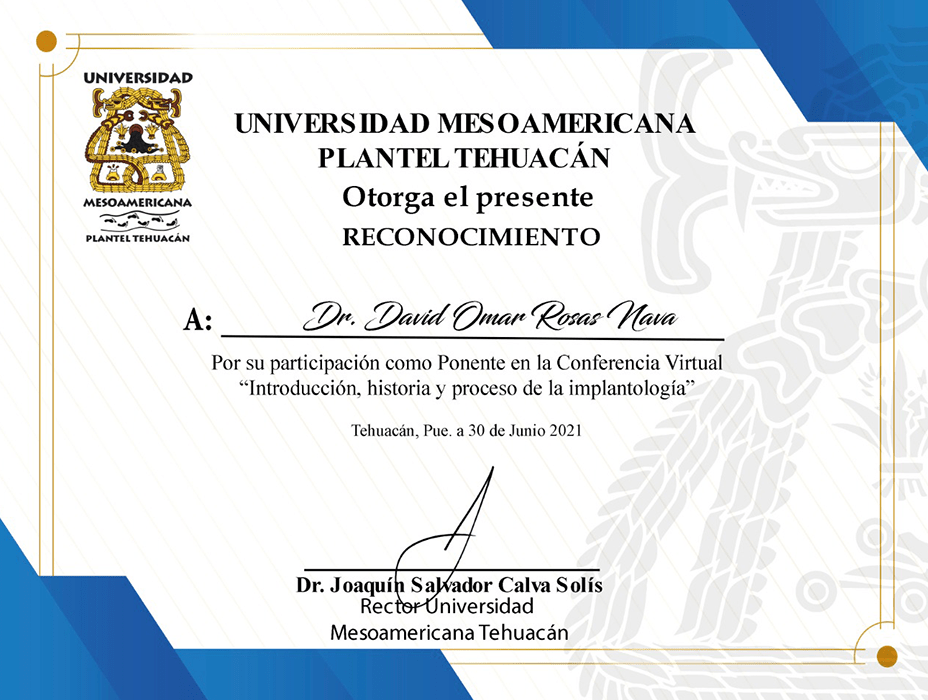 Certificado Dentista de Toluca