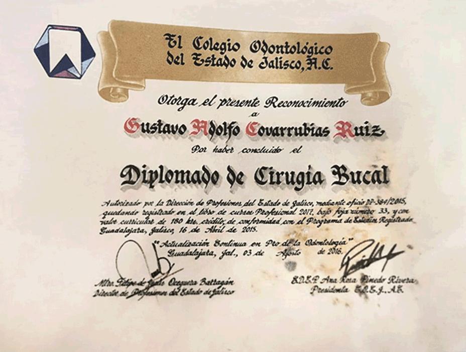 Certificado dentista de Vallarta