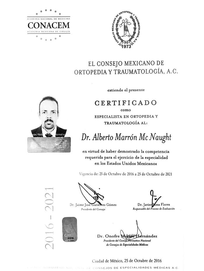 Certificado Ortopedia de Vallarta